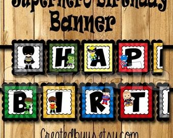 Superhero Birthday Banner Super Hero party banner Hero decorations decor Superhero theme 1st birthday name banner Superhero sign assembled