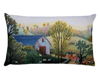 """Rectangular Pillow, """"Spring Mill"""" painting by Kathy Jakobsen"""