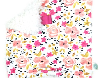 READY TO SHIP,Pink Flowers Lovey,Floral lovey, Baby girl, Baby lovey, Flower blanket, Baby Blanket, Small Blanket, Minky Security blanket,