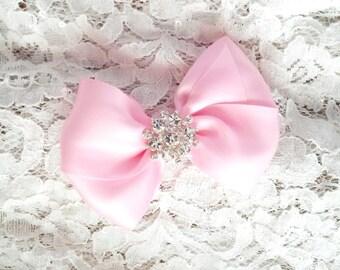 Girls Hair Bow with Rhinestone Center, Pink Flower Girl Hair Bow, Light Pink Hair Bow, Pageant Bow