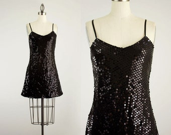 90s Vintage Cacique Black Sequin Mini Slip Dress / Size Small / Vintage with Tag