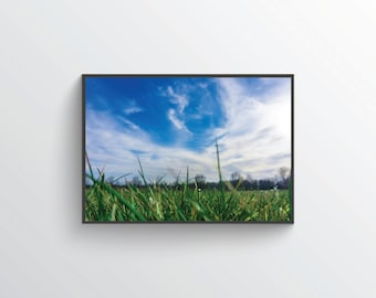 Nature Photography, Cloud Gazing, Modern, Minimalist Print, Grass, Sky, Wandering, Instant Download, Wallpaper, Poster, Digital Only