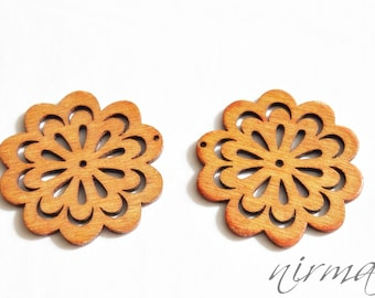 1 pc Wood buttons, Brown Floral Wooden Button, Scrapbook button, Sewing Button, Embellishment, Craft Scrapbooking Supply