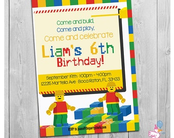 Building Block Party Invitation: Custom Printable Boys Birthday Invitations | Digital Invite | Bulding Blocks Birthday Invites