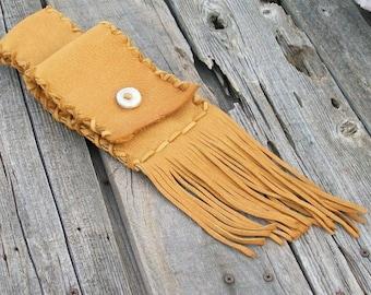 Leather belt bag ,  Fringed phone bag ,  Handmade hip bag , Leather waist bag  , Hip bag