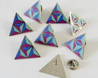 Blau und lila Emaille-Anstecknadel geometrischen Dreieck - bereit zu versenden