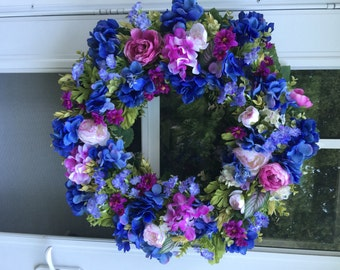 Sale!! Blue & Orchid Hydrangea with Phlox and Ranunculus Wreath