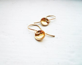 Tiny Gold Pool Earrings in Gold Filled - Dainty Everyday Earrings, Tiny Gold Dot Circle Earrings