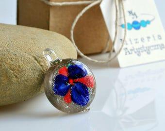 Glass deep blue flowery pendant