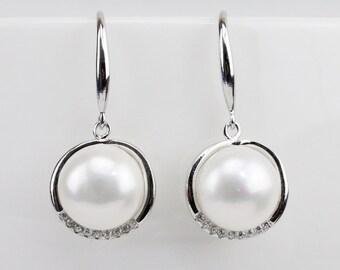 bridesmaid pearl earings,button pearl earrings 10mm dangling pearl earrings,genuine ivory pearl earring wedding,pearl earring dangle earings