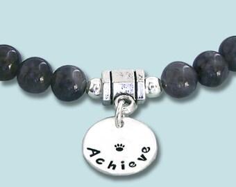 Labradorite Intention Bracelet - ACHIEVE - Stretch Bead Bracelet - Mala Bracelet - Dog Agility Bracelet