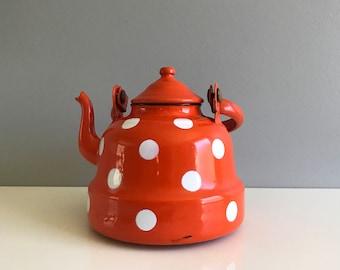 Orange Polka Dot Enamel Tea Kettle