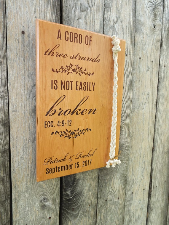 A Cord of Three Strands Wedding Sign in Cherry, Maple, White Oak or Walnut Wood. Wedding-Ceremony-Marriage-A Cord of Three Strands