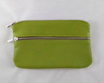 """Green Leather 7"""" Double Zip"""