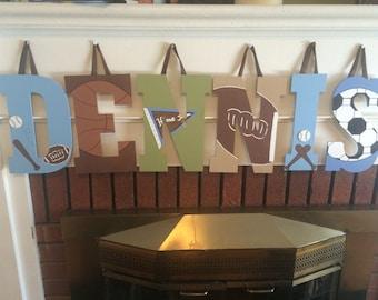 Custom Block Letter Name Sign - Custom Boys Block Letter Sports Name Sign - Custom Hanging Block Letters