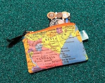 Map purse, cute coin purse, wanderlust gift, atlas zip pouch, gift for her, fun wallet, change purse, gadget case, mum, mom, Mother's Day