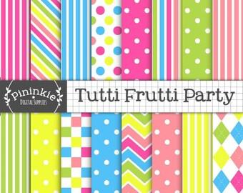 Lumineuse numérique papier, Tutti Frutti Scrapbook numérique, document d'information numérique Candy Stripe bleu à pois, chaud rose, Instant Download