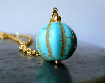 Turquoise stone pendant necklace, gold plated chain, carved howlite stone pumpkin bead charm, turquoise gemstone, sky blue, matching set