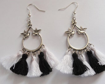 Rockabilly earrings black and white swallow and tassels