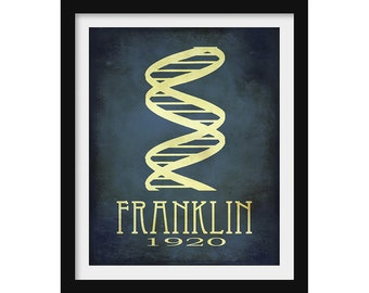 DNA Science Poster, Rosalind Franklin, Women in Science Gift, Chemistry Poster, Science Decor, Scientist Wall Art, Physics Gift Teacher Gift