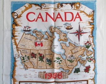 Tea Towel Canada Souvenir 1988 Calendar Tourist Map Provincial Flowers - still new