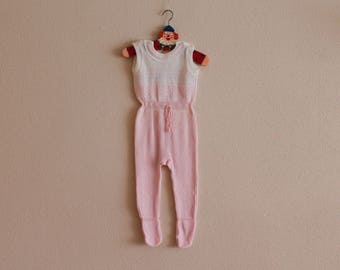 Vintage Infant Clothing Pink Newborn Dungarees Baby Romper Pajamas One Piece Baby Clothes Baby Overalls Kids Children's Cotton Blend