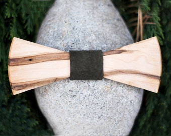 Wood Bow Tie in Wormy Maple- Wooden Bowtie, Forest Green Leather Knot, Handmade Men's Fashion, Handmade Kid's Fashion, Unique Gift, Style