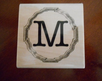 Mongram Letter M Rubber Stamp, Wood mounted, Brand new
