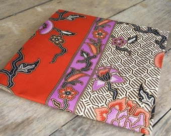 Malaysian / Indonesian batik sarong 100% cotton, brown, purple and red wth unique panel