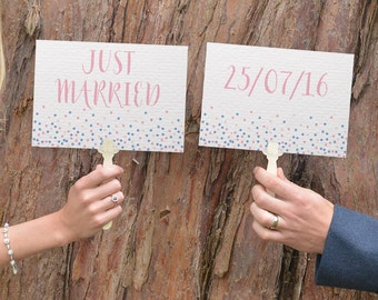 Wedding Paddles Just Married   Wedding Photo Booth Props   Just Married Sign