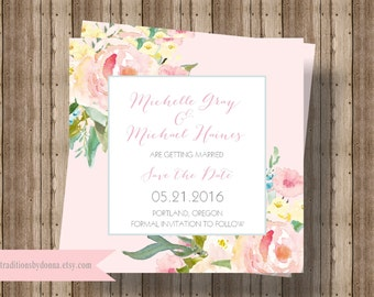 SAVE THE DATE Cards Blush Pink Watercolor Floral   Beautiful Shabby Chic Save the Date Card    Blush Rustic Watercolor Save the Date Printed