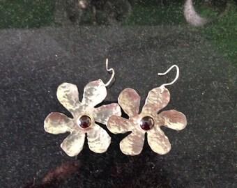 Silver and garnet flower earrings