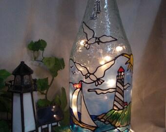 Lighthouse Sailboat Ocean Seashore Seagulls Wine Bottle Lamp