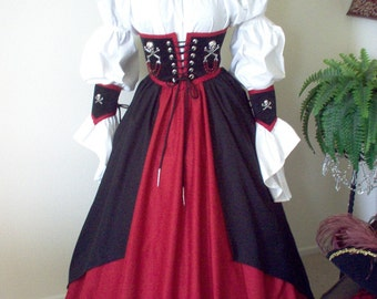 Pirate Waist Cincher And Skirt Costume Can Be Made In Any Size Different Colors Available Shirt Not Included