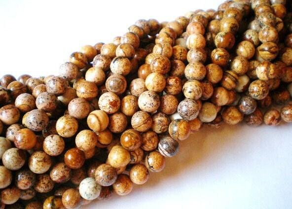 Picture jasper beads 8mm gemstone jewelry supplies strand 45 beads HP (SR1),