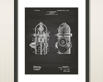 """Fire Hydrant 1903 Patent Art Illustration - 16""""x20"""" - 8.5""""x11"""" - 11""""x14"""" - Printable INSTANT DOWNLOAD - Get 5 Colors Background"""