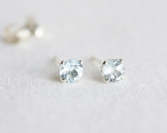 Sky blue topaz stud earrings, silver post earrings, sky blue topaz ear studs, November Birthstone, topaz ear studs, real blue topaz earrings