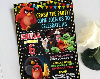 Angry Birds Birthday, Angry Birds Invitation, Angry Birds Birthday Invitation, Angry Birds Party Celebration, Angry Birds Printable Invites