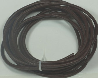 6 mm Chocolate Brown leather cord 10 meter hank.