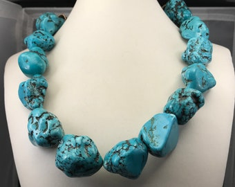 1960s Navajo Turquoise Nugget Necklace
