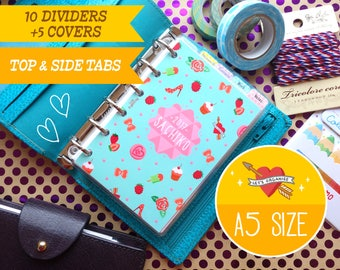 A5 Size Pop Party Dividers (Top & Side tabs) Filofax A5, Louis Vuitton GM, Kikki.K Large 5 covers Printable PDF Instant Download