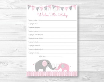 Pink Elephant Chevron Wishes for Baby Advice Cards / Elephant Baby Shower / INSTANT DOWNLOAD A203