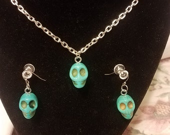 Blue And Green Sugar Skulls Turquoise Necklace   / Handmade Jewelry