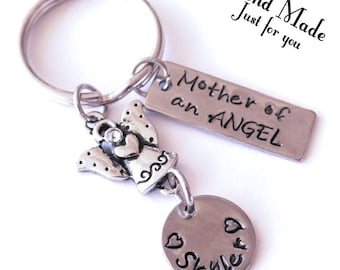 Mother of an angel keychain, keychain, angel charm, birthstone charm keychain, Memorial keychain, loss of infant, loss of child, sympathy