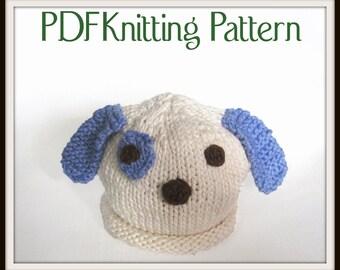 Baby Puppy Dog Hat pattern, knit, Boston Beanies