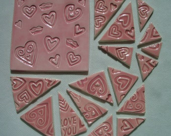 17PLH - 17 pc PINK HEART Stamped TRIANGLES, Lg Square - Ceramic Mosaic Tiles Set