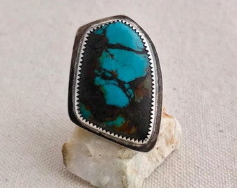 Turquoise and sterling silver asymmetrical statement ring, adjustable, metalsmithing, industrial jewelry, silversmithing, organic, modern