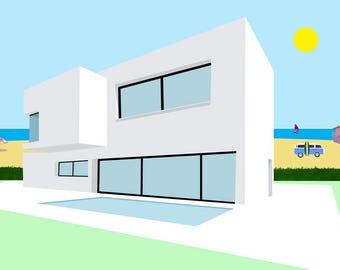 Bauhaus architecture art print-House poster-Beach Print-White building Decorative-Pool-Summer-Hippie van-Large Original Print-Cool Panorama