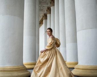 17th Century Golden Dress, 1600s Gown