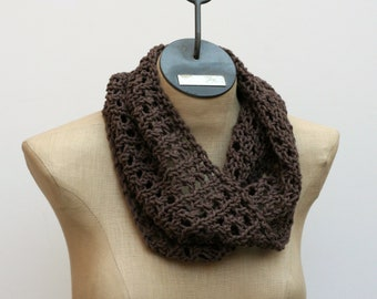 Ready to Ship: Basic Cotton Lace Cowl - Hand Knit Scarf - Cotton Scarf - Lace Scarf - Spring Scarf - Neutral Scarf - Infinity Scarf